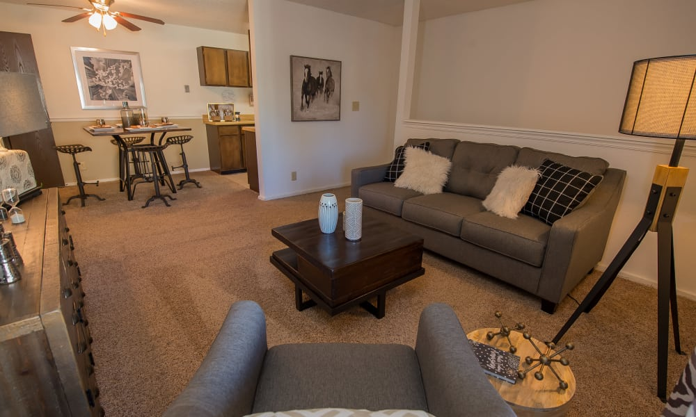 Living room at Fox Run Apartments in Wichita, Kansas