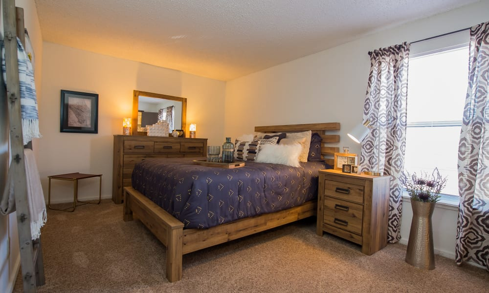 Master bedroom at Fox Run Apartments in Wichita, Kansas