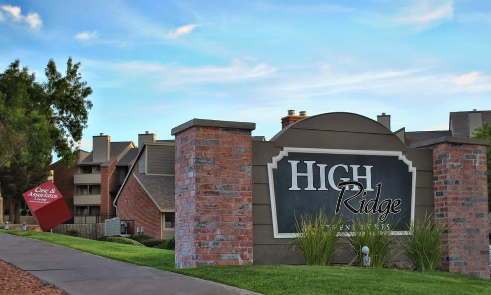 Entrance sign at High Ridge Apartments in El Paso, Texas