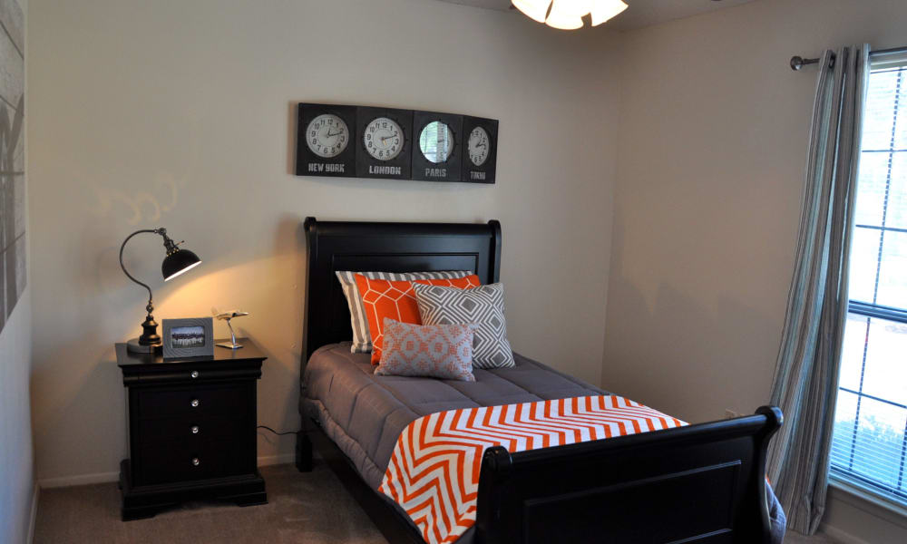 A well decorated bedroom at High Ridge Apartments in El Paso, Texas