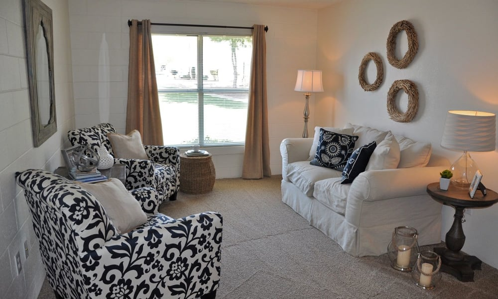 An apartment living room at The Phoenix Apartments in El Paso, Texas