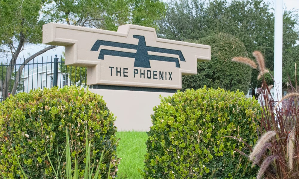 The sign in front of The Phoenix Apartments in El Paso, Texas