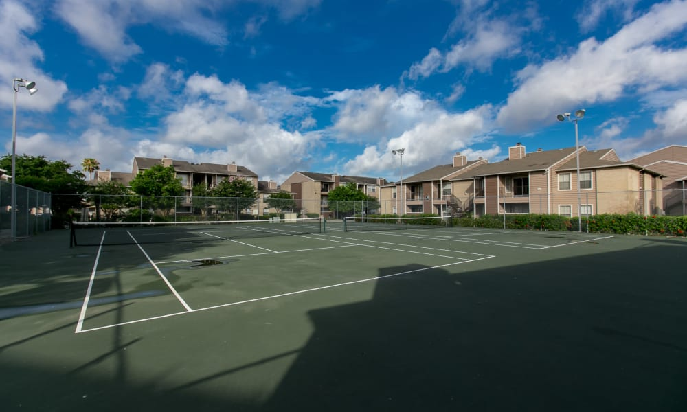 The tennis court at The Phoenix Apartments in El Paso, Texas