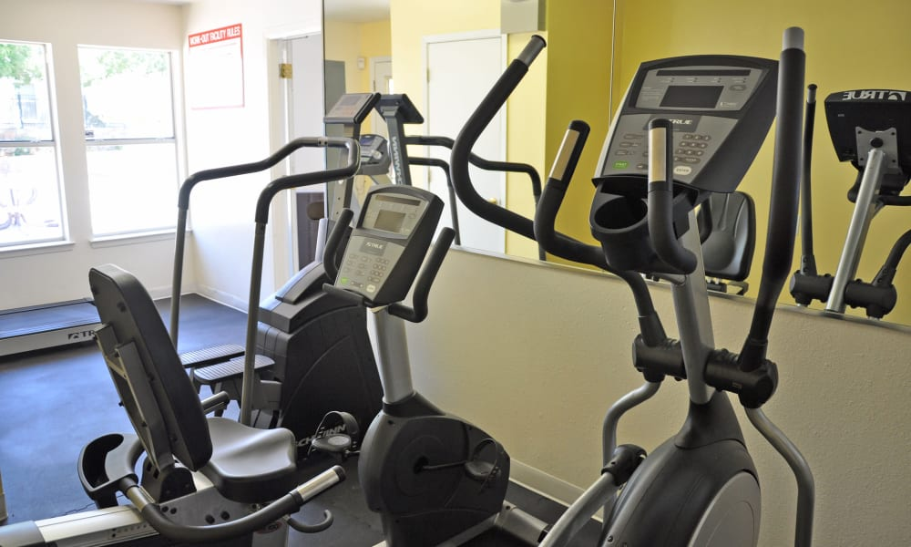 The fitness center at The Phoenix Apartments in El Paso, Texas