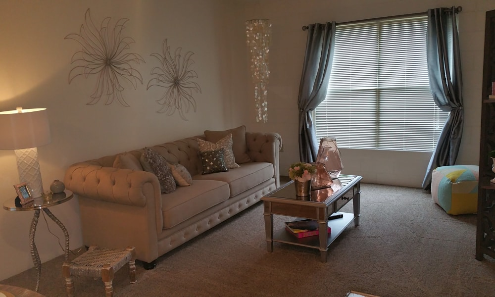Spacious living room at The Phoenix Apartments in El Paso, Texas