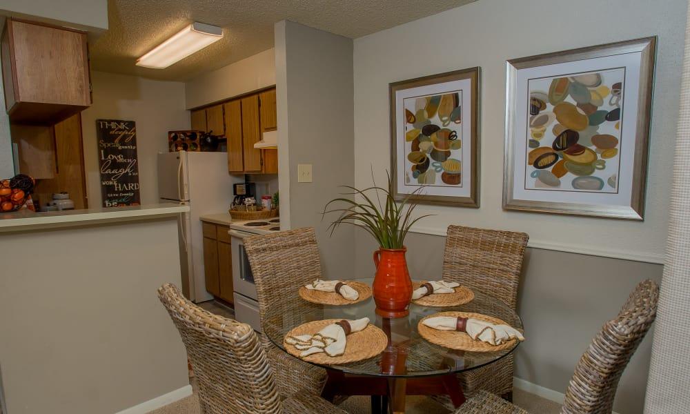 Bright dining area at Walnut Ridge Apartments in Corpus Christi, Texas