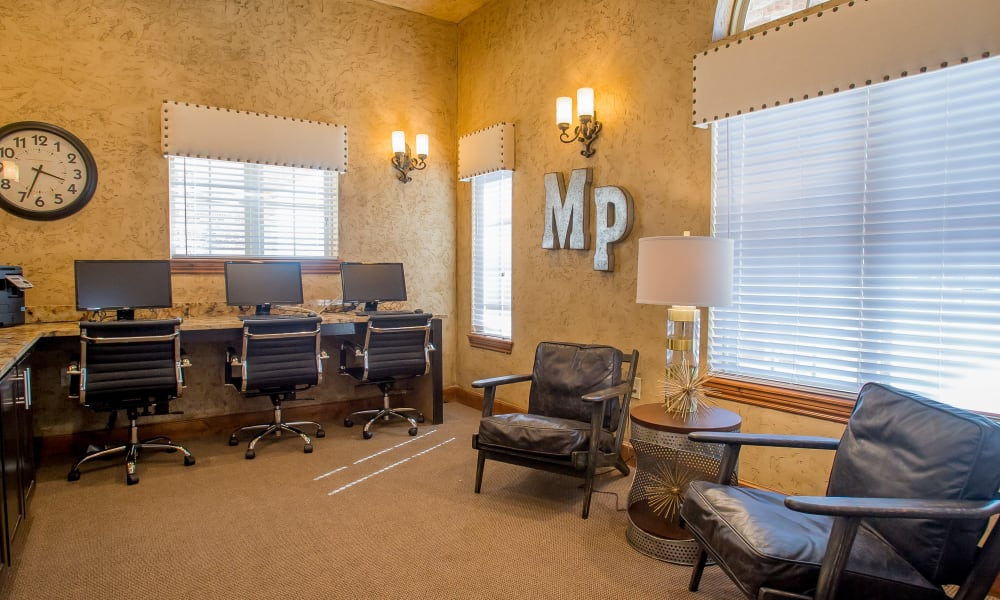 Business center at Mission Point Apartments in Moore, Oklahoma