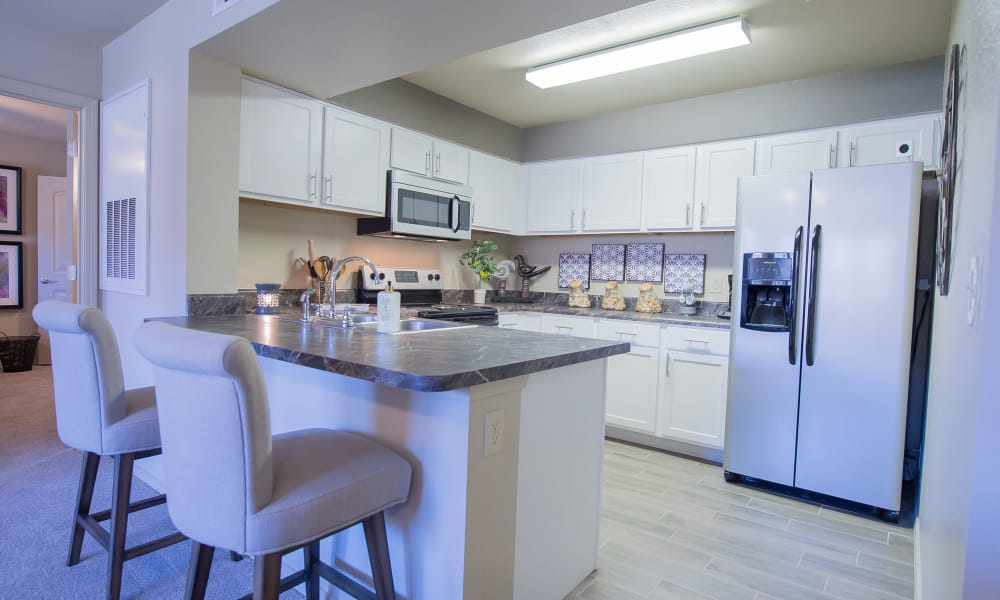 Kitchen with ample counter space at Mission Point Apartments in Moore, Oklahoma
