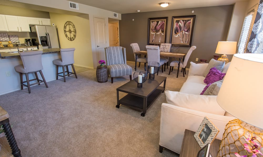 Well-lit living room at Mission Point Apartments in Moore, Oklahoma