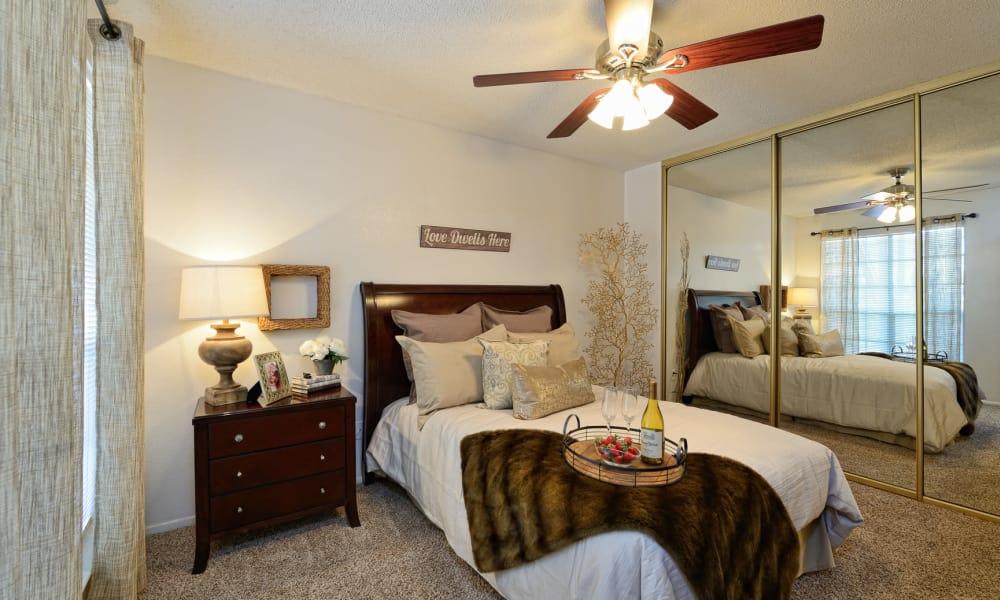 Cozy bedroom at Shadow Ridge Apartments in El Paso, Texas