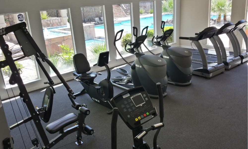 Spacious fitness center at The Chimneys Apartments in El Paso, Texas