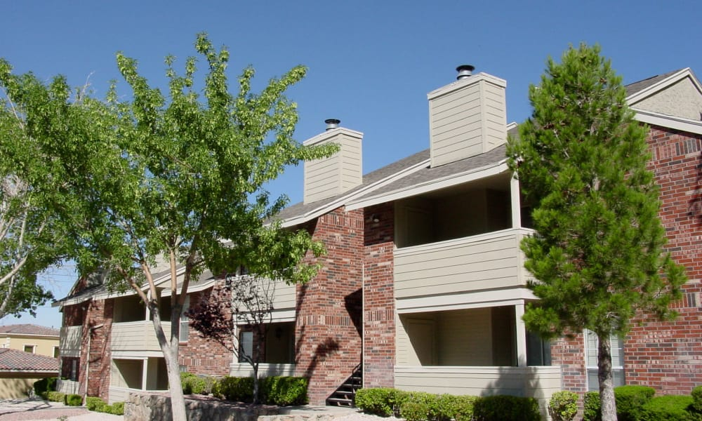 Exterior view of our building at The Chimneys Apartments in El Paso, Texas