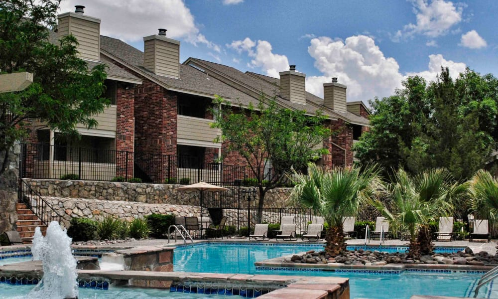 A resort style pool at The Chimneys Apartments in El Paso, Texas
