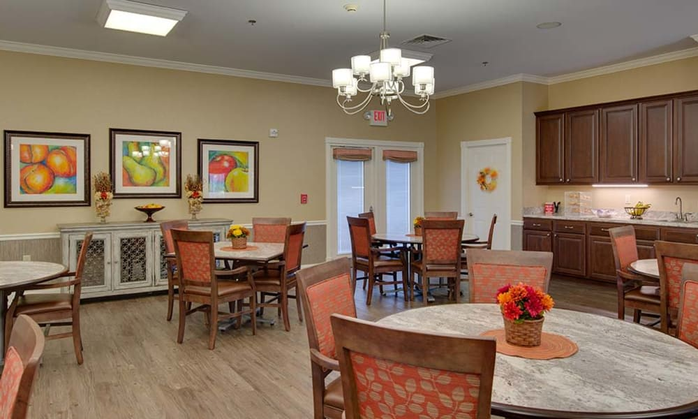 Main dining hall set for dinner at Willow Springs Senior Living in Spring Hill, Tennessee