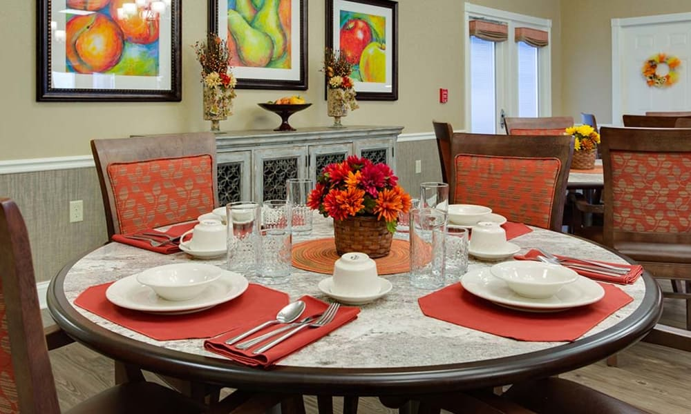 Dining table set at Willow Springs Senior Living in Spring Hill, Tennessee