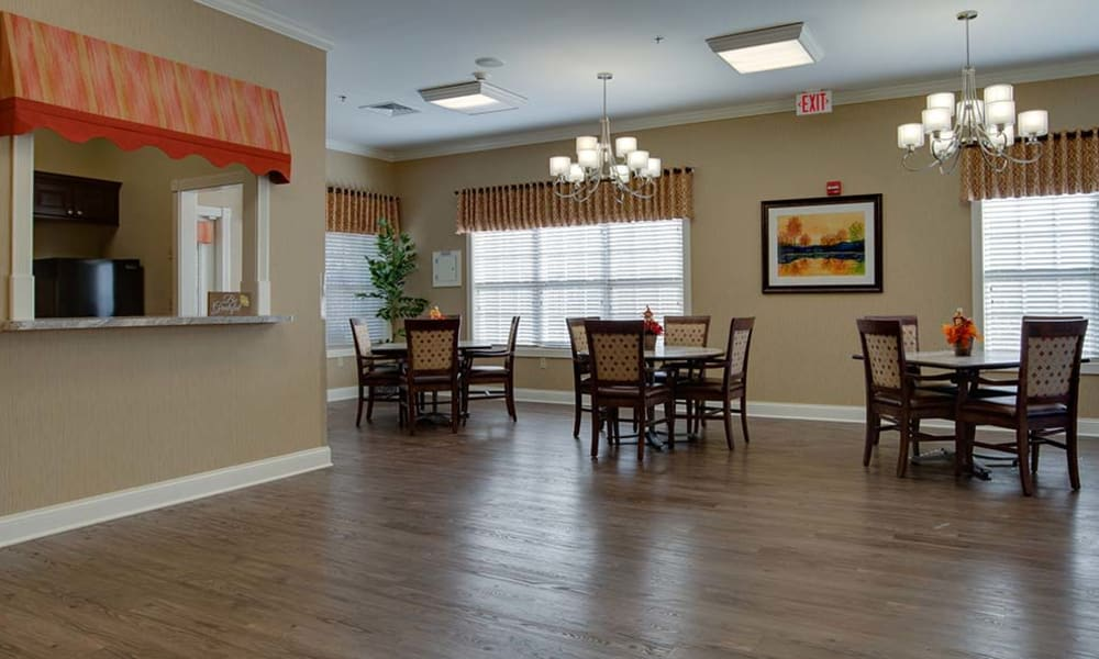 Dining hall with hardwood floors at Willow Springs Senior Living in Spring Hill, Tennessee
