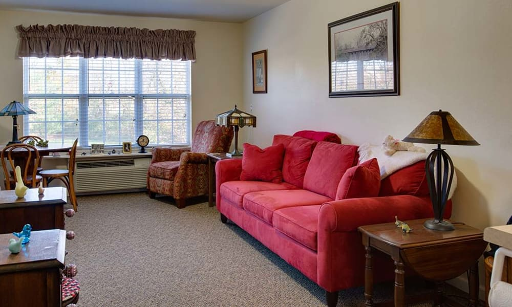 Resident living space living room at Willow Springs Senior Living in Spring Hill, Tennessee