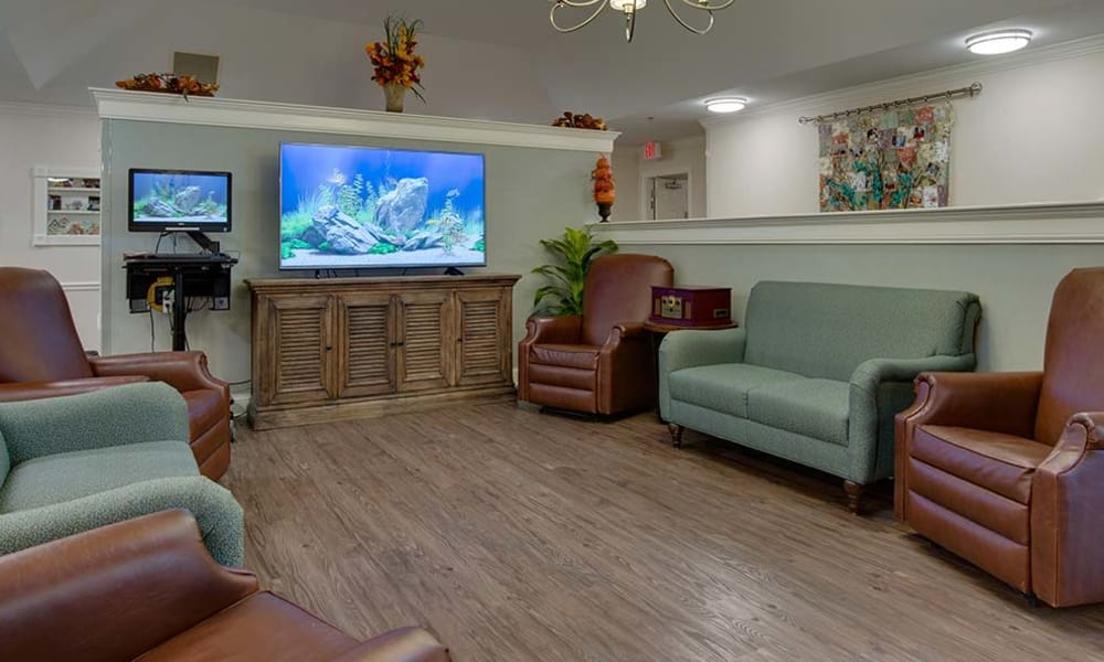 TV room with lots of seating at Willow Springs Senior Living in Spring Hill, Tennessee
