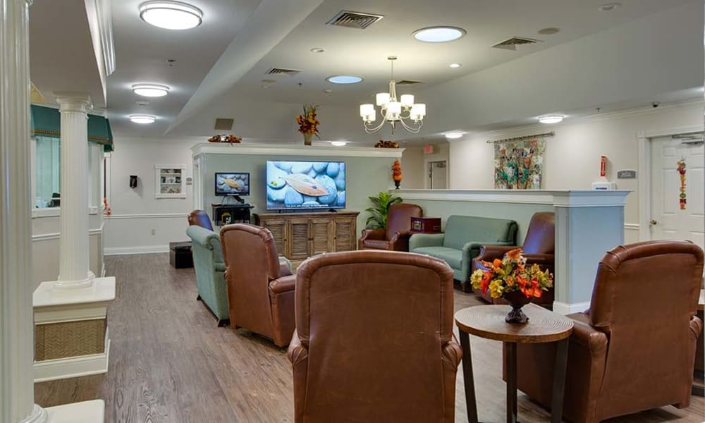 Tv room at Willow Springs Senior Living in Spring Hill, Tennessee