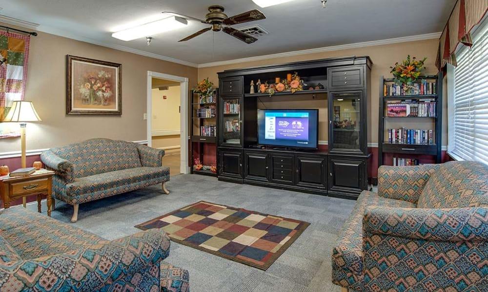 Tv room at Wheatland Nursing Center in Russell, Kansas