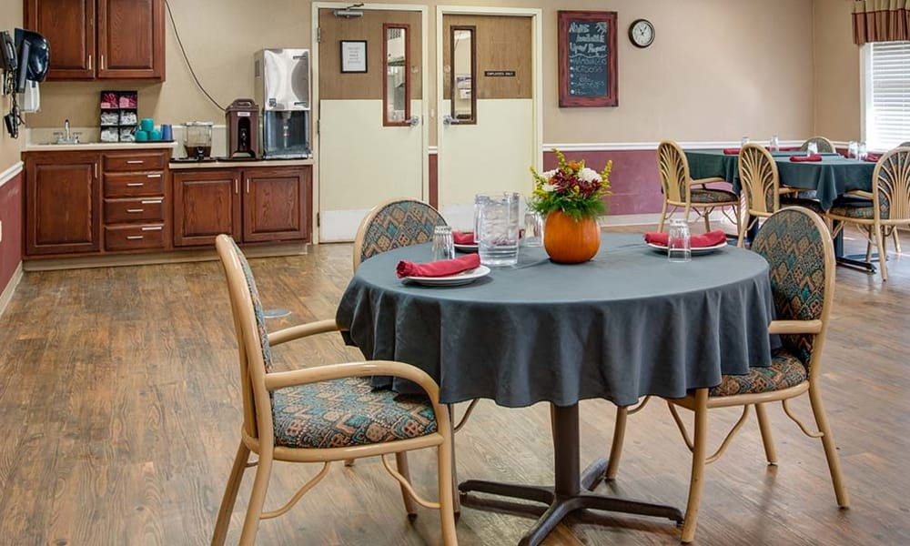 Dining table set for diner at Wheatland Nursing Center in Russell, Kansas