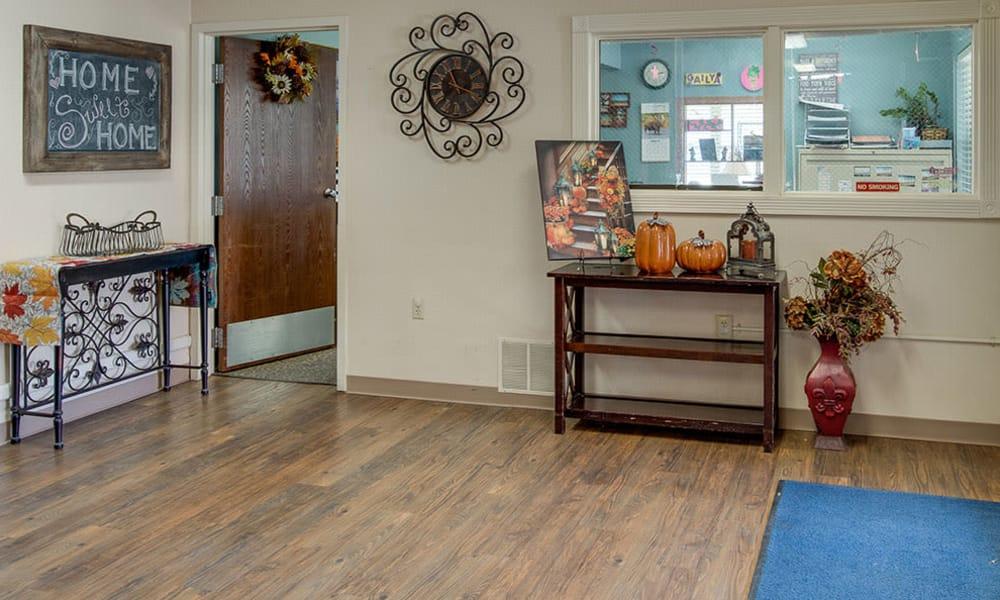Main entry foyer at Wheatland Nursing Center in Russell, Kansas