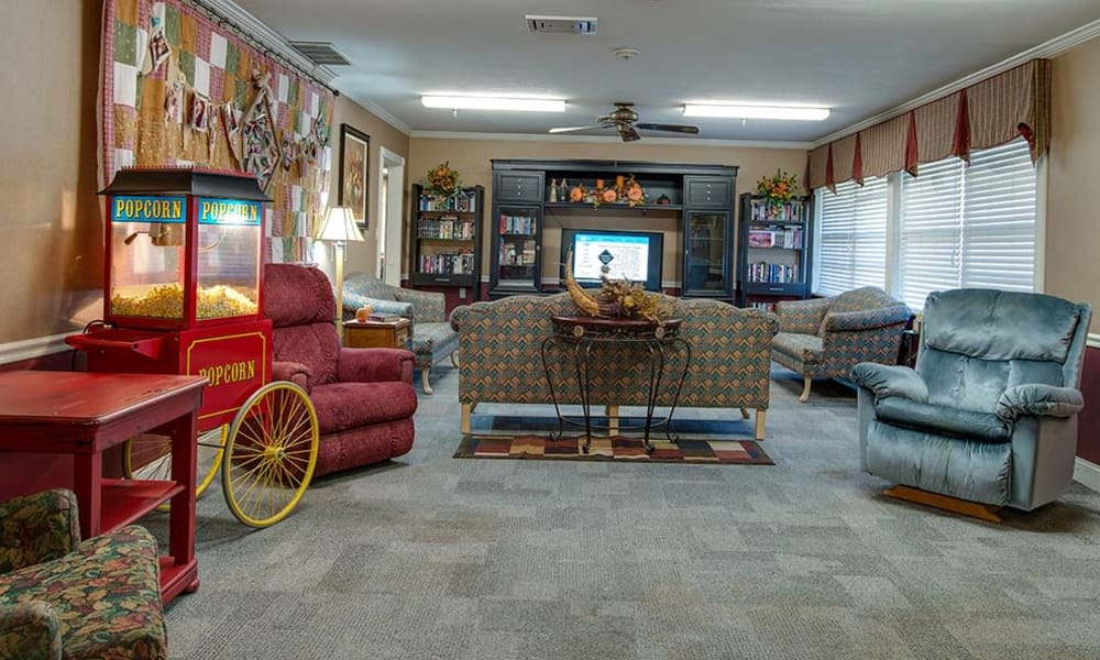 Entertainment room at Wheatland Nursing Center in Russell, Kansas