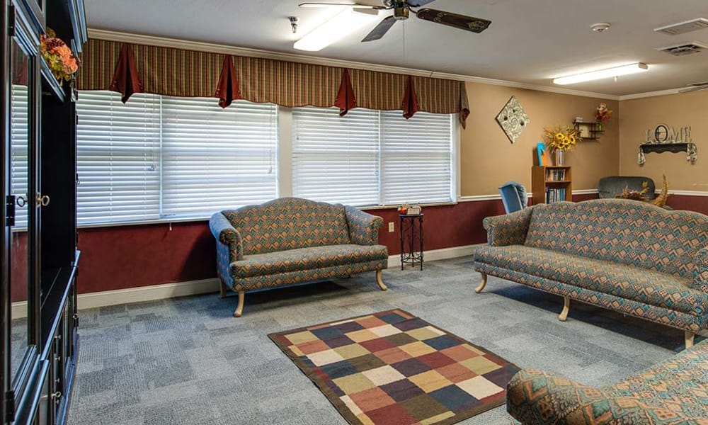 Carpeted entertainment room at Wheatland Nursing Center in Russell, Kansas