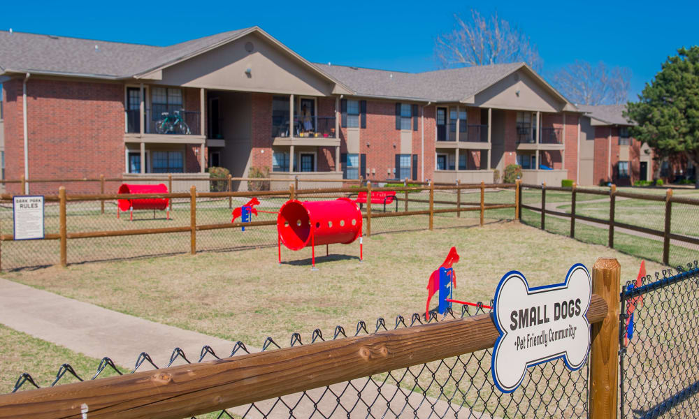 An onsite dog park at Waters Edge in Oklahoma City, OK