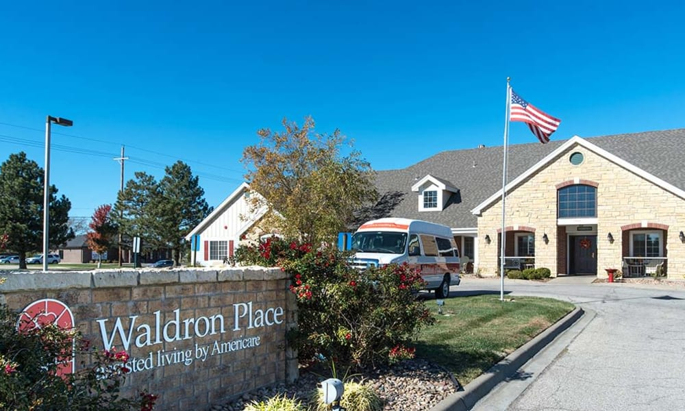 Signage outside of Waldron Place Senior Living in Hutchinson, Kansas