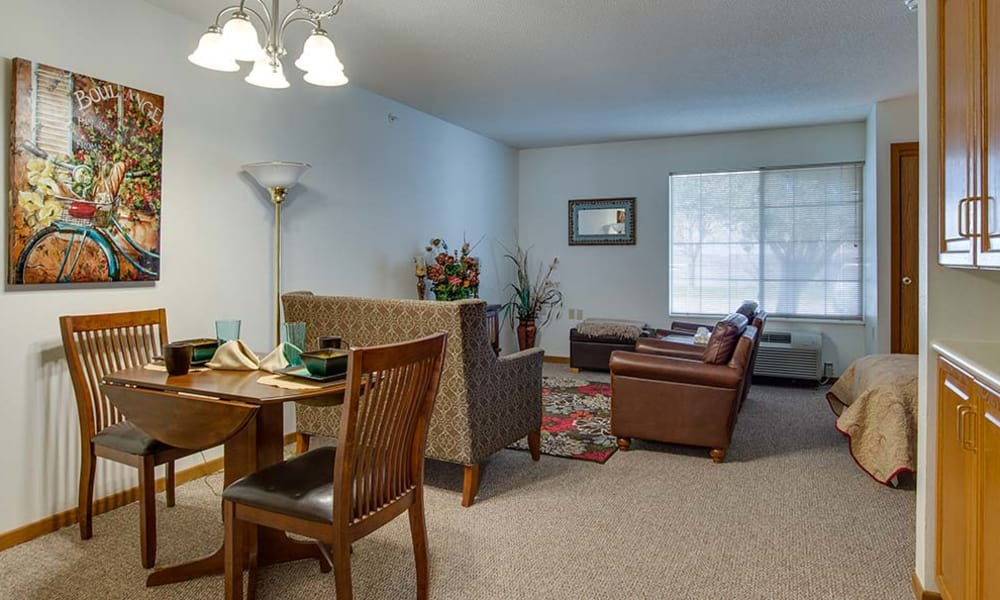 Independent living spaces offered by Waldron Place Senior Living in Hutchinson, Kansas