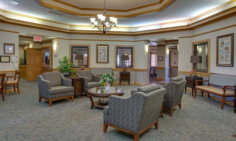 Lobby area at Waldron Place Senior Living in Hutchinson, Kansas