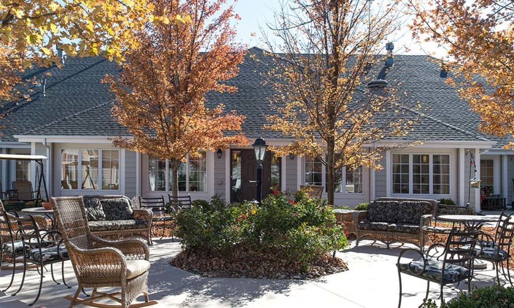 Patio with seating at Waldron Place Senior Living in Hutchinson, Kansas