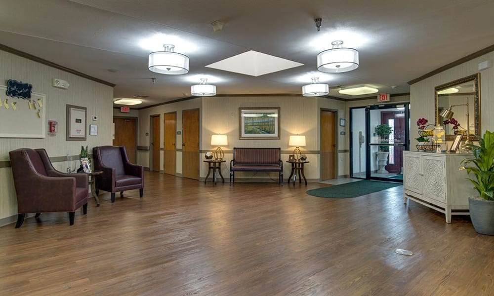The lobby at St. Clair Nursing Center in Saint Clair, MO