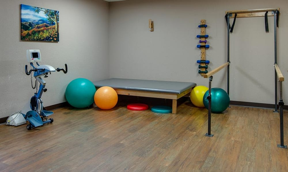Community fitness room at St. Clair Nursing Center in Saint Clair, Missouri