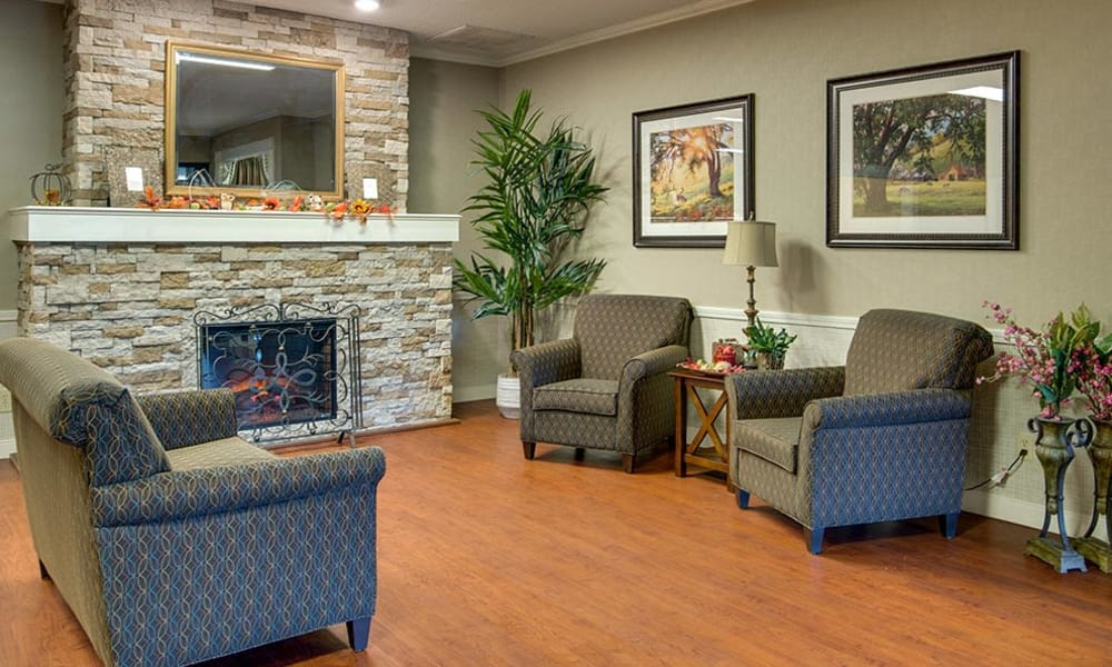 Community entertainment room with comfortable seating at Southbrook in Farmington, Missouri