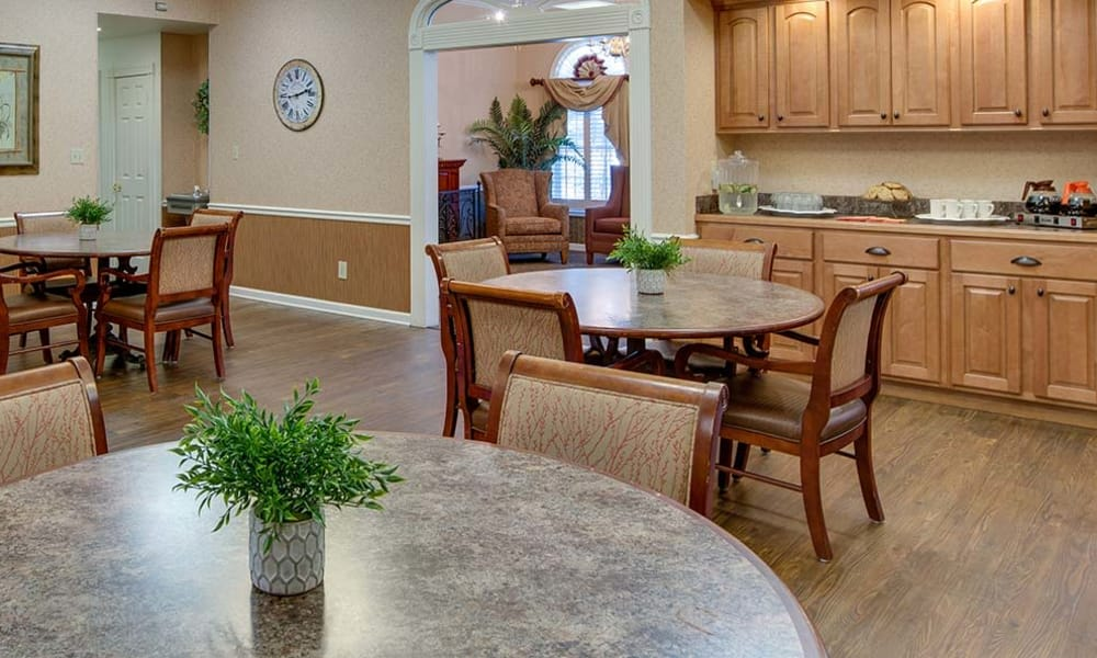 Community kitchen with accessible counters at Parkwood Meadows Senior Living in Sainte Genevieve, Missouri