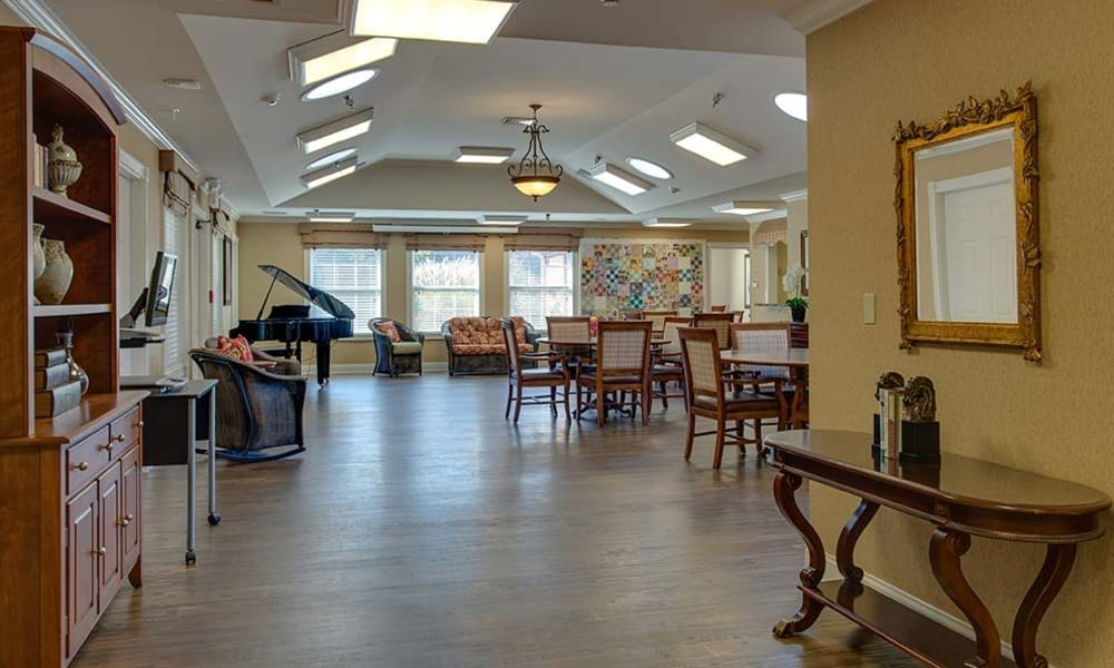 Music corner in the dining hall at Parkwood Meadows Senior Living in Sainte Genevieve, MO