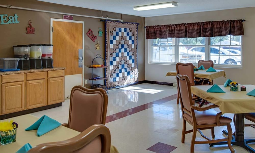 Dining room and community kitchen at Montgomery Place in Independence, Kansas