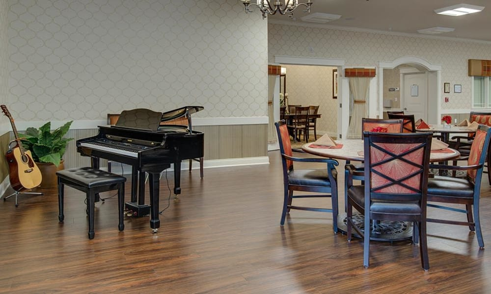 Music corner in the dining hall at Mill Creek Village Senior Living in Columbia, MO
