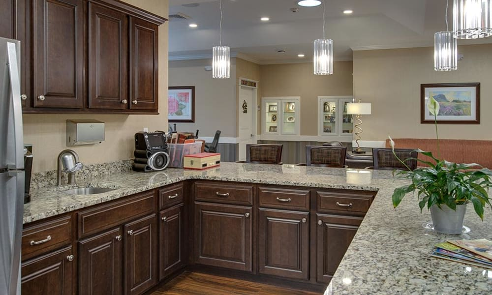 Modern kitchen at Mill Creek Village Senior Living in Columbia, Missouri
