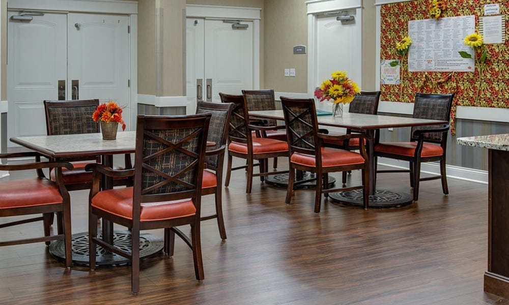 Dining area at the center of Mill Creek Village Senior Living in Columbia, Missouri