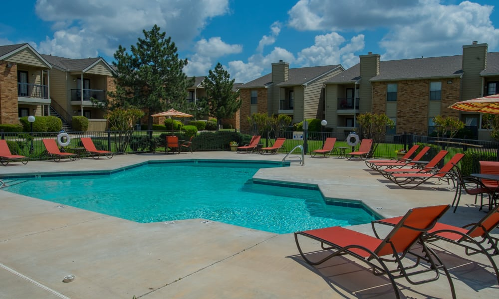 Sparkling pool at Cimarron Trails Apartments in Norman, Oklahoma