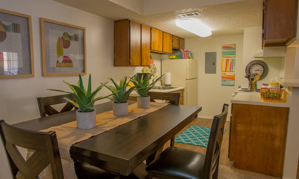 Bright dining room at Cimarron Trails Apartments in Norman, Oklahoma