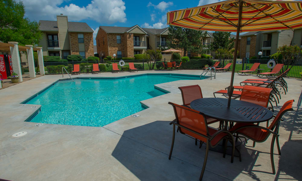 The pool at Cimarron Trails Apartments in Norman, OK