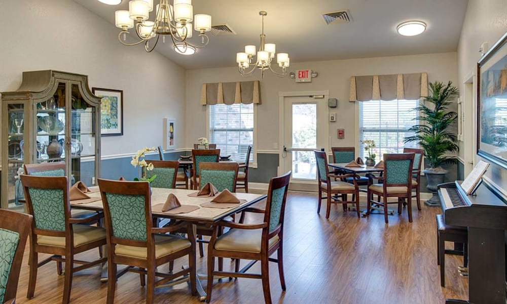 Music corner in the dining hall at Lakewood Senior Living in Springfield, MO