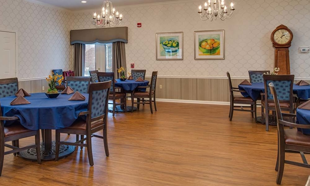 Dining area at the center of Hickory Gardens in Madison, Tennessee