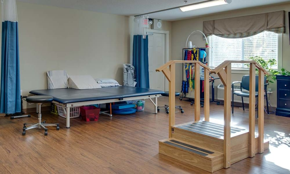 Skilled nursing and rehabilitation gym at Galena Nursing Center in Galena, Kansas