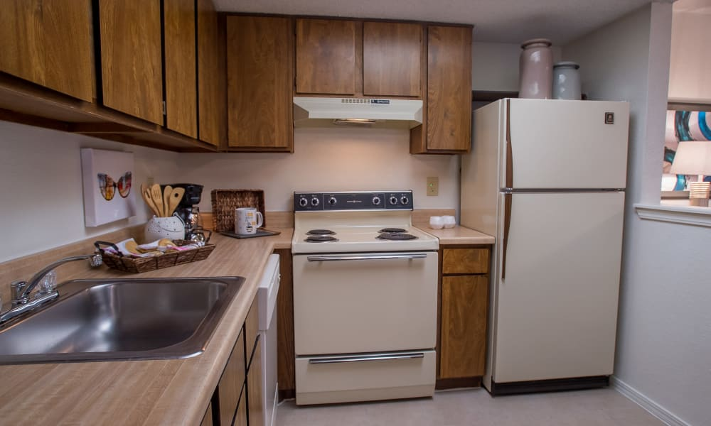 Spacious kitchen at Copperfield Apartments in Oklahoma City, Oklahoma