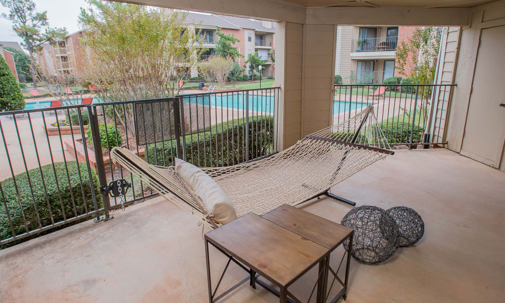 A private balcony at Copperfield Apartments in Oklahoma City, OK